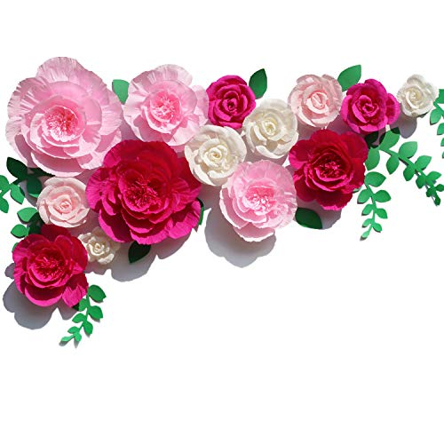 Letjolt Giant Crepe Paper Flowers 14Pcs Homecoming Dance Backdrop Wedding Decorations Paper Peony & Handcrafted Rose for Baby Shower Bridal Shower (Rose+Pink+White)