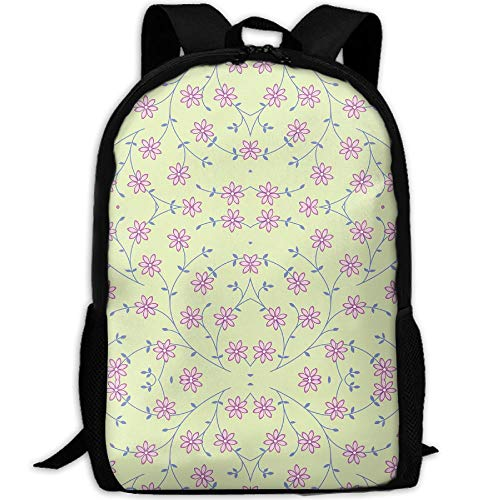 Casual Large College School Daypack, Laptop Outdoor Backpack, Travel Hiking& Camping Rucksack Pack For Daisy Vine Green Fabric 5041(4567) Print ()
