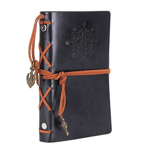 Vintage Leather Cover Journal Diary String Nautical (Black) - 1