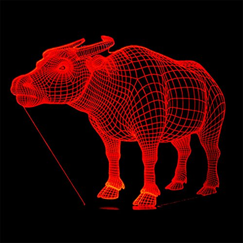 RUIYI Buffalo 3D Illusion Table Lamp Visual Lmaps,Buffalo 7 Color Change Lamp with Base Birthday Gift for Kid Adult Bedroom Bedside Decoration ()