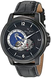 Lucien Piccard Men's 'Nebula' Stainless Steel and Leather Automatic Watch, Color:Black (Model: LP-15156-BB-01)