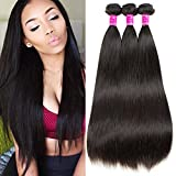 Cheap 8A Brazilian Straight Hair 3 Bundles Virgin Unprocessed Human Hair Extensions Natural Black Color (8.10.12, natural color)