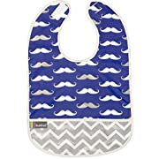 Kushies Cleanbib Waterproof Feeding Bib with Catch All/Crumb Catcher pocket. Wipe clean and reuse! Lightweight for comfort, Baby Boys, 6-12 Months, Navy Mustache