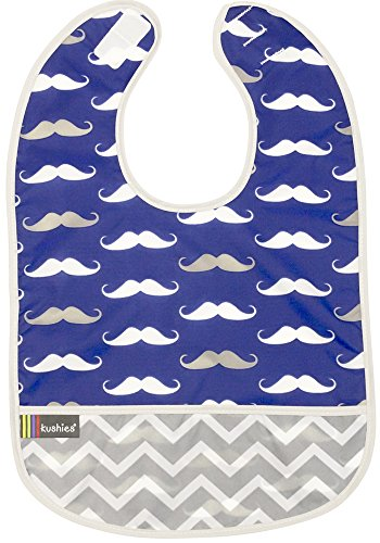 Kushies Cleanbib Waterproof Feeding Bib with Catch All/Crumb Catcher Pocket. Wipe Clean and Reuse! Lightweight for Comfort, Baby Boys, 6-12 Months, Navy Mustache (Kushies Baby Clothes)