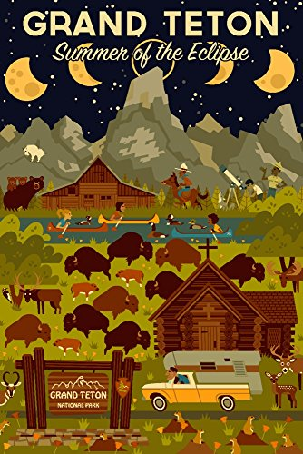 Grand Teton National Park, Wyoming - Summer of the Eclipse - Geometric (16x24 SIGNED Print Master Giclee Print w/ Certificate of Authenticity - Wall Decor Travel Poster)