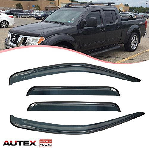 AUTEX 4Pcs Tape On Window Visor Compatible with Nissan Frontier Navara Crew Cab 2005 2006 2007 2008 2009 2010 2011 2012 2013 2014 2015 2016 2017 Side Window Deflector Sun Rain Guard