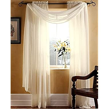 Gorgeous Home 3PC BEIGE CREAM VOILE SHEER WINDOW CURTAIN SET 2 PANEL 1 VALANCE SCARF TREATMENT DRAPE SWAG TOPPER 63  LENGTH