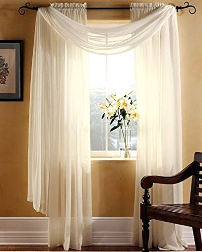 Gorgeous Home 3pc Beige Cream Voile Sheer Window Curtain