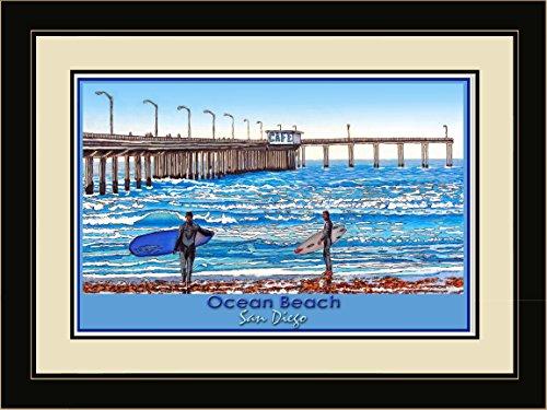 Northwest Art Mall DL-3998 LFGDM STS Ocean Beach San Diego Saturday Sets Framed Wall Art by Artist David Linton, 20 x 26