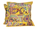 2 Indian Embroidery Patchwork Sequin Cushion Cover 18x18 inches Boho Hippie Throw Pillow Cushion Cover Decorative Bohemian Pillows Cotton Hand Embroidered Pillow Cases (Yellow, 18 X 18 Inches)