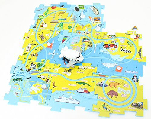 Perfect Life Idea Airplane Vehicle Puzzle Track Play Set - Battery Operated Toy Themed Style Vehicle Runs on Interchangeable Puzzle Tracks - Make up to 50 Track Combinations