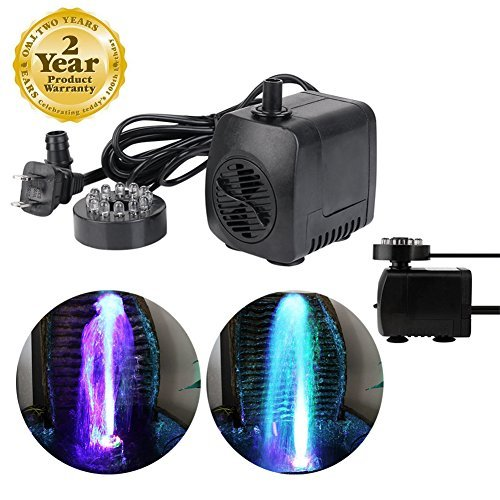 Mini Submersible Water Pump with 12 LED Colorful Light for Indoor Fountain, Pool, Garden, Pond, Fish Tank, Aquarium, Hydroponic (15W 800L / H) by JFQ