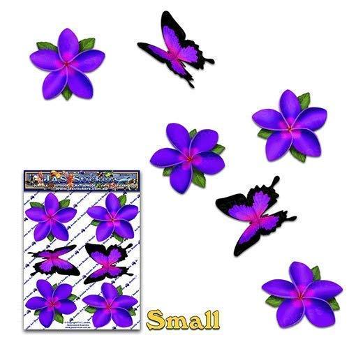 Flor Pú rpura Ú nico Frangipani Plumeria + Mariposa animal etiquetas engomadas del coche del paquete - ST00041PL_SML - JAS Stickers