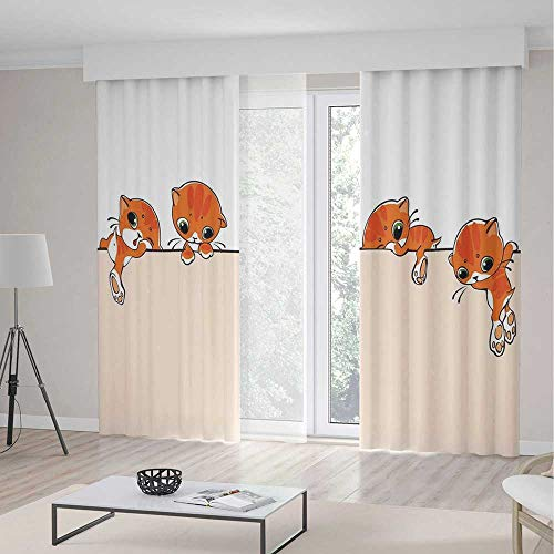 Decor Collection,Cat Lover Decor for Living Room,Banner with Little Kitties Felines Over Jumping The Walls Free Artful Design,103Wx83L - Lr Drape