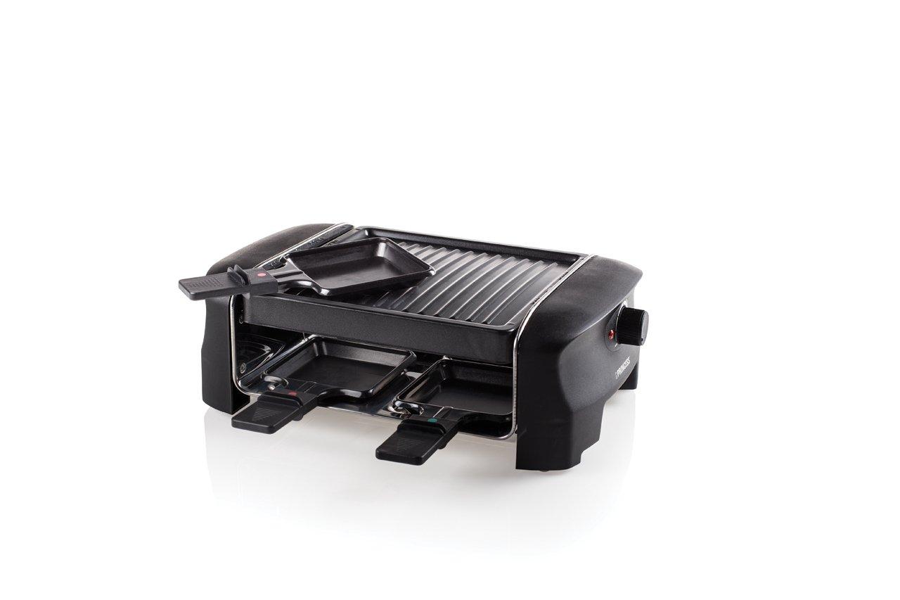 4 personas acero inoxidable 600 W color negro Princess Parrilla 162800 Grill Party Raclette