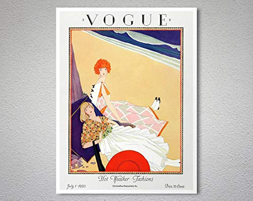 Vintage Vogue Magazine Cover, July 1, 1923 Hot Weather Fashions Vintage Print - Poster Paper, Sticker or Canvas Print/Gift Idea 30X40Cm No Frame