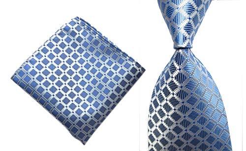 Secdtie Men's Classic Checks Light Blue White Jacquard Woven Silk Tie Necktie (One Size, Blue Silver Set)