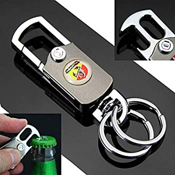 Auto Car Emblems Abarth Bottle Opener Key Fob Holder Keychain Key Ring +Gift Box Fit for Fiat Linea Punto EVO Idea 500 Panda Sedici