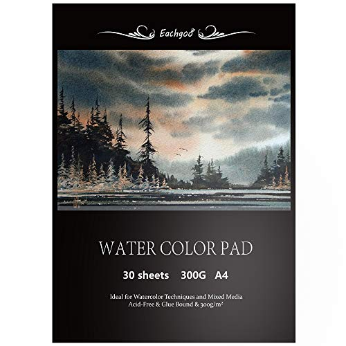 Eachgoo Watercolor Pad, 30 Sheets A4 Acid Free Cold Pressed Paper 300gsm for Watercolor Painting,Drawing, ()