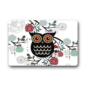 Vintage Owl Machine-wahable Non-woven Doormat Indoor/Outdoor