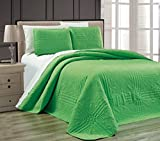"3-Piece LIME GREEN Oversize ""Stella Grande"" Bedspread QUEEN / FULL Embossed Coverlet set 106 by 100-Inch"
