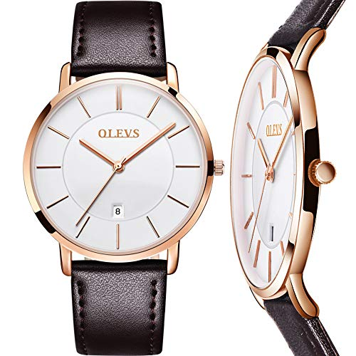 Mens Watch Brown Leather White Face,Ultra Thin Watches for Men Waterproof Luxury Wrist Watch Calendar,Male Watches on Sale,Simple Analog Watch with White Dial,Casual Watches for Men