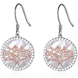 MEGACHIC Women Tree of Life Sterling Silver Mother of Pearl Drop Earrings Crystals from Swarovski