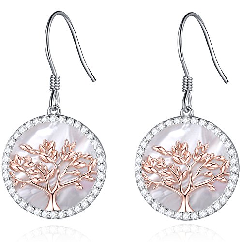 MEGACHIC Tree of Life Women's Sterling Silver Mother of Pearl Pendant Earrings Crystals from Swarovski (Rose Gold Earrings) ()