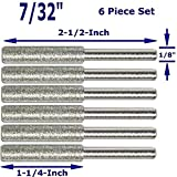 Integra Tools 7/32' Diamond Chainsaw Sharpener Burr 1/8' Shank, 6 Pack