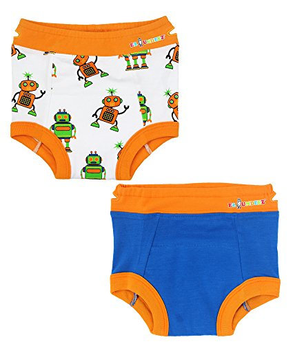 Ez Undeez Toddler Potty Training Pants with Padded Liner (2T, Robots-Blue...