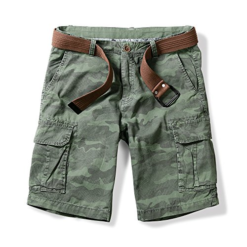 OCHENTA Men's Lightweight Camo Pattern Cargo Shorts Green 30 ()