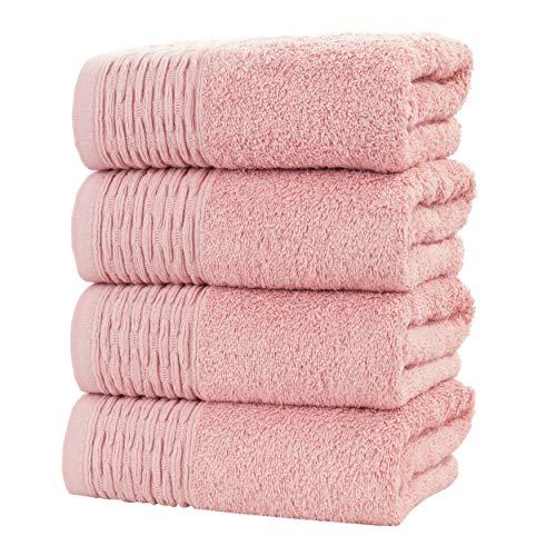"HYGGE Premium Turkish Cotton Hand Towel with Antique Jacquard 19"" x 32"" (Set of 4) (Tea Rose)"