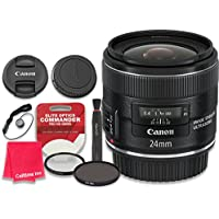 Canon EF 24mm f/2.8 IS USM Lens with Elite Optics Commander Pro HD Series Ultra-Violet Protector UV Filter & Circular Polarizer CPL Multi-Coated Filter - International Version