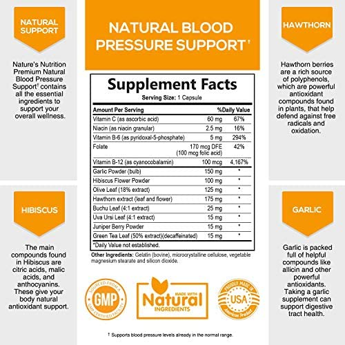 Blood Pressure Supplement Extra Strength Heart Support 685mg – Heart Health Vitamins – Made in USA – Best Natural Blood Pressure Support Pill with Garlic, Hawthorn Hibiscus – 60 Capsules