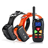 #8: Training Collar for 2 Dogs Casfuy Upgraded 1000ft Remote Waterproof Rechargeable Dog Shock Collar with Beep Vibration and Harmless Shock for Small Medium Large Dog