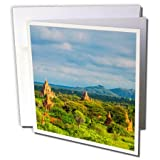 3dRose Danita Delimont - Travel - Landscape of Ancient temples and pagodas, Bagan, Mandalay, Myanmar - 12 Greeting Cards with envelopes (gc_276703_2)