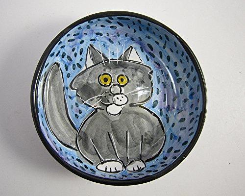 Grey Gray and White Cat Ceramic Feeding Dish Bowl Clay Pottery Majolica Handmade on Blue
