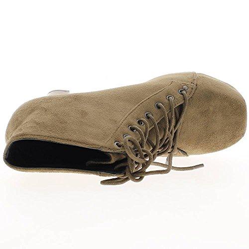 Botas taupe tacón madera 11,5 cm extremos derechos aspecto gamuza