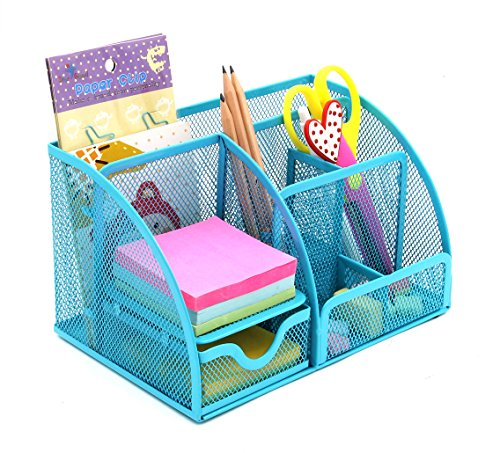 PAG Mesh Desk Organizer Desktop Pencil Holder Office Accessories Caddy with Drawer, 7 Compartments, - Desk Organizer