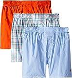 Polo Ralph Lauren Men's 3-Packaged Woven Boxers Active Orange/Cruise Royal Aopp/Daniels Plaid/Matthew Plaid Medium
