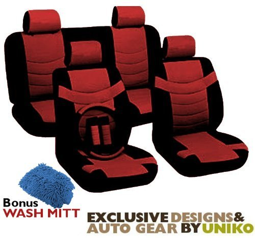 Two Tone PU Synthetic Leather Seat Covers Set 11pc Black & Red