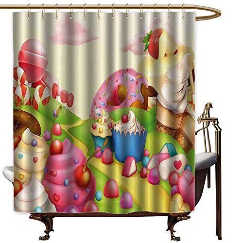 Godves Long Shower Curtain,Pink Decor Food Theme Sweet Landscape of Candies Cupcakes Lollipop and Ice Cream Print,Fabric Shower Curtain Bathroom,W72x96L,Multicolor ()