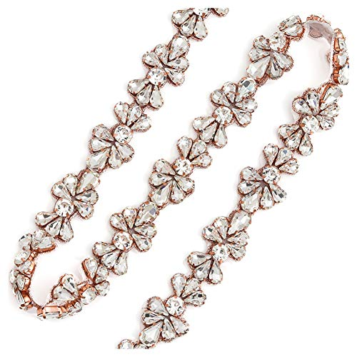 Yanstar Handmade Crystal Rhinestone Wedding Bridal Belts With Ribbons For Bridal