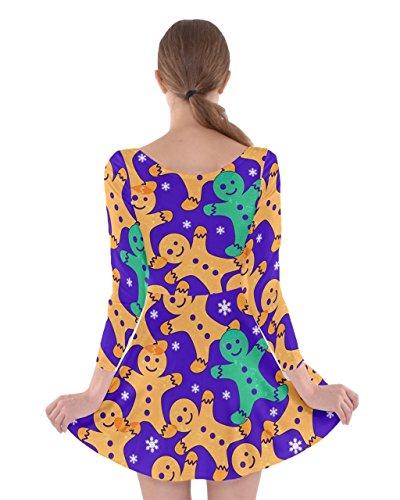 Vintage Long Dress Winter XS Skater 5XL Xmas Womens Sleeve Santa Christmas Purple Gingerman CowCow Snowman xpIS0n