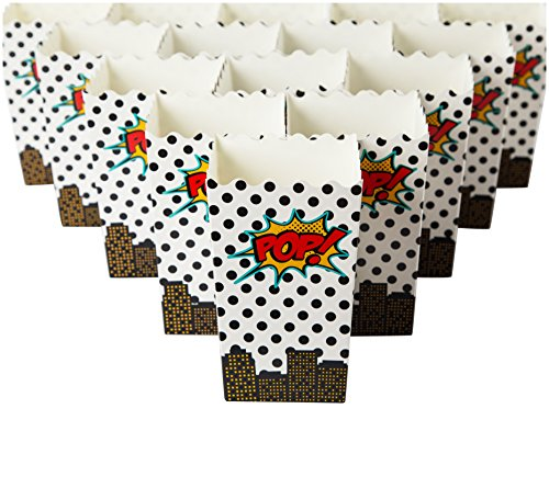 Set of 100 Popcorn Favor Boxes - Mini Paper Popcorn Bags and Snack Containers, Carnival Party Supplies for Movie Night, Movie Theme Party, Comics and Superhero, 20oz, 3.3 x 5.5 x 3.3 Inches