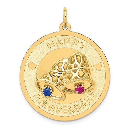 14k Yellow Gold Happy Anniversary Bells Pendant Charm Necklace Special Day Fine Jewelry Gifts For Women For Her -