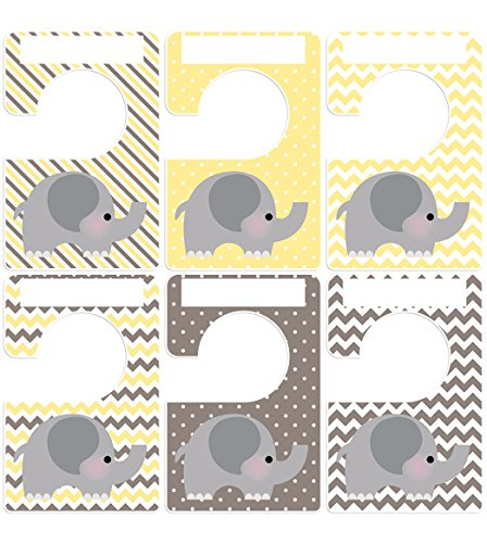 Closet Doodles 6 Clothing Organizers Yellow Gray Elephant Plus 48 Sorting Labels