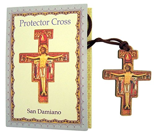 Decoupage on Wood San Damiano Cross Crucifix Pectoral Pendant, 2 1/8 ()