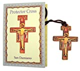 Religious Gifts Decoupage on Wood San Damiano Cross Crucifix Pectoral Pendant, 2 1/8 Inch