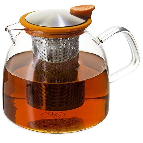 FORLIFE Bell Glass Teapot with Basket Infuser, 43 oz./1280 mL, Orange